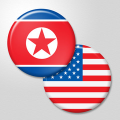 North Korea And United Conflict Flag 3d Illustration