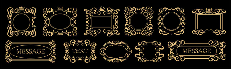 Frame, Vector Set. Gold on black. Calligraphy frames in the old style: antique, Baroque, Victorian, Rococo. Template for graphic design