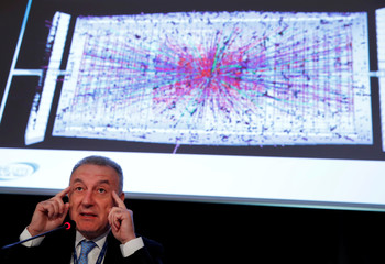 Rossi HL-LHC project leader gestures during a news conference to launch the works for the High Luminosity LHC Project  at the CERN in Meyrin