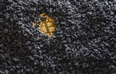 Bitcoin gold cryptocurrency buried in black stones.