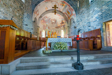 Church of Santa Maria di Piona, Italy. The Piona Priory is a religious complex on the Lecco bank of Lake Como in the territory of the municipality of Colico, northern Italy.