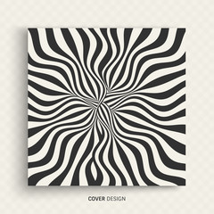Pattern with optical illusion. Black and white background. Abstract vector illustration.