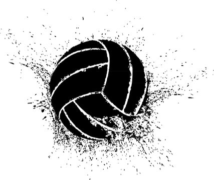 Silhouette of a volleyball shattering