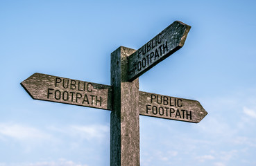 3 direction public footpath sign