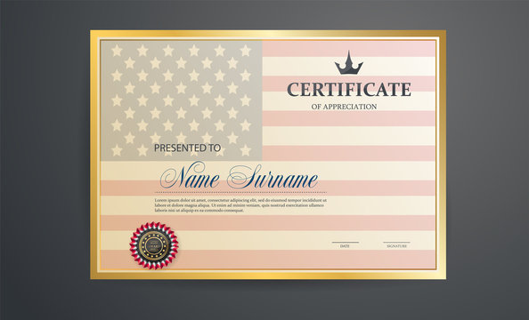 Certificate template. Certification against the background of the American flag. Creative design