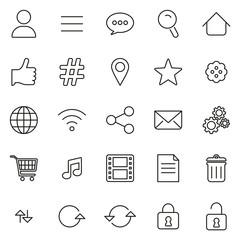 Toolbar Or Menu Icons Thin Line Vector Illustration Set