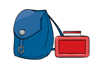 Blue back pack and red lunch box