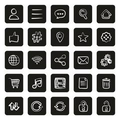 Toolbar Or Menu Icons Freehand White On Black