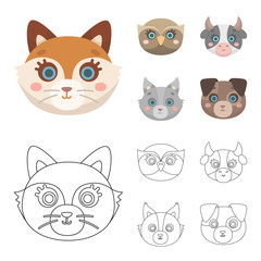 Owl, cow, wolf, dog. Animal's muzzle set collection icons in cartoon,outline style vector symbol stock illustration web.