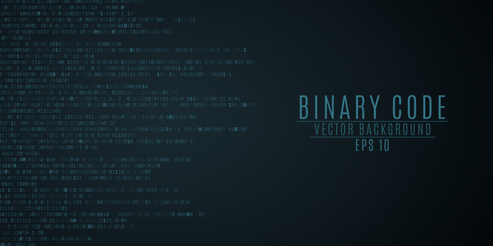 Binary code background. Blue glow. High technologies, programming, sci-fi. Vector illustration
