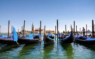 .Venice, Italy with gondolas .