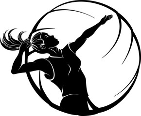 Female Volleyball In Ball Design