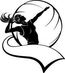 Female Volleyball In Ball Design. with Pennant