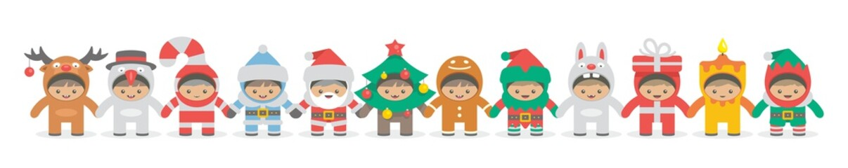 Kids holding hand in Christmas costumes, flat style. isolated on white background