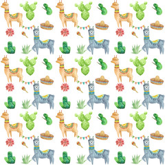 Watercolor alpaca pattern