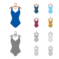 Different kinds of swimsuits. Swimsuits set collection icons in cartoon,outline style vector symbol stock illustration web.