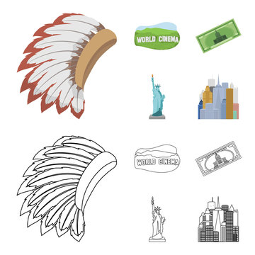 Mohavk, world cinema, dollar, a statue of liberty.USA country set collection icons in cartoon,outline style vector symbol stock illustration web.