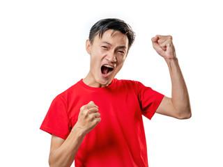 Soccer fan celebrating man in red short sleeve shirt.