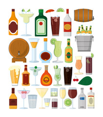 Set of bar drinks