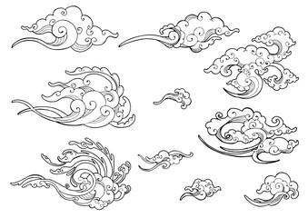 oriental Japanese or Chinese cloud ornament doodle drawing collection set vector with white isolated background