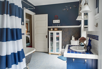 Large Blue & White Bathroom Update