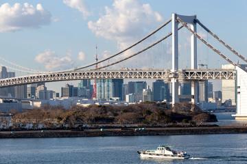 Tokyo Bay with Rainbow Bridge in Odaiba city skyline