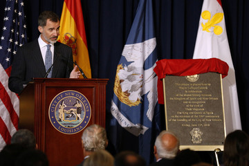 Spain's King Felipe VI speaks during a welcoming ceremony at Gallier Hall in New Orleans