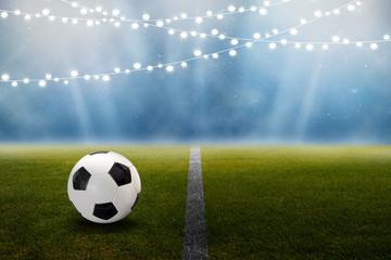 Fußball im Stadion mit Lichterkette