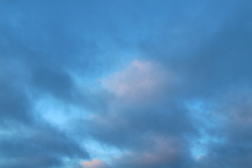 Cloudy sky with clouds in winter. Background.