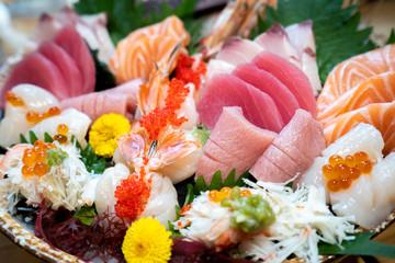 Close up of big sashimi set,