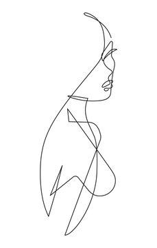 Female Figure Continuous Vector Line Art 4