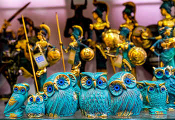 Greek Bronze Owls Symbol Athena Athens Greece