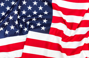 American flag as background. Top view. Close up.