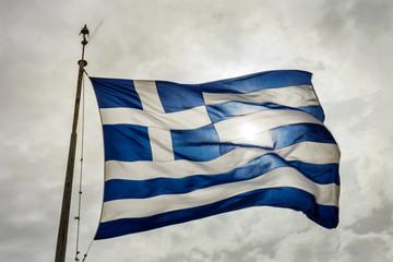Blue White Greek Flag Sun Summit Acropolis Athens Greece