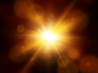 Vector star, sun with lens flare. Abstract vector background
