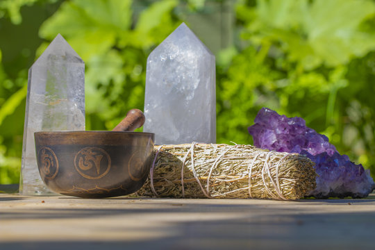 Beautiful Singing Bowl with Sage and Crystals Close Up