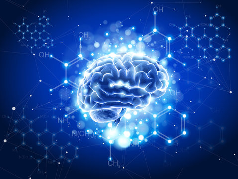 blue shining brain & chemical formulas in the form of a shining constellation in the blue space of the information web - an abstract illustration of information technology in medicine & biotechnology