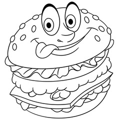Burger. Hamburger. Cheeseburger. Coloring page. Colouring picture. Coloring book.