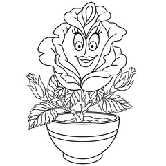 Rose flower in a pot. Coloring page. Colouring picture. Coloring book.