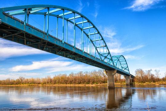 Dramatic Leavenworth Bridge over the Missouri River in Kansas