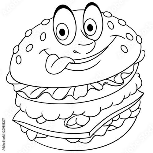 Burger Hamburger Cheeseburger Coloring Page Colouring Picture