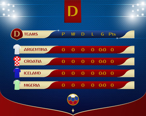 Soccer or football results table template design. Schedule of soccer matches on the dot pattern and stadium lighting for football championship. Vector illustration