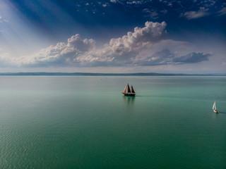 beautifu piratel ship in lake Balaton