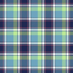 Tartan seamless plaid pattern in blue, dark blue, green, red and white color