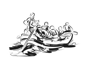 Vector sketch of people on a raft