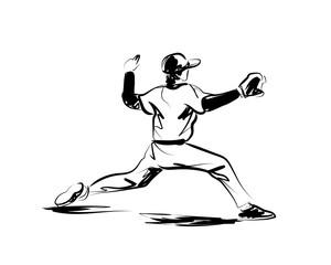 Vector sketch baseball player