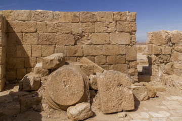 Printed roller blinds Ruins Fragments of decorated details of Ruined Temple in Ein Avdat - UNESCO World Heritage site, Negev desert, Israel