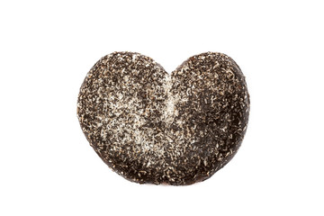 Bun in heart shape with chocolate and coconut