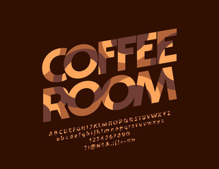 Vector artistic Coffee Room sign.Abstract textured Font. Creative pattern Alphabet Letters, Numbers and Symbols