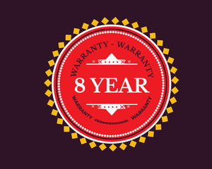 8 years  warranty icon stamp